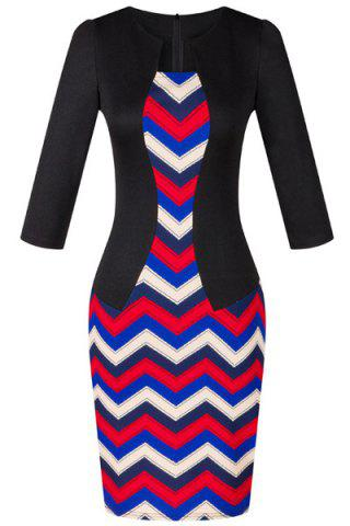 Fancy OL Women's Jewel Neck 3/4 Sleeve Wave Printed Faux Twinset Design Dress