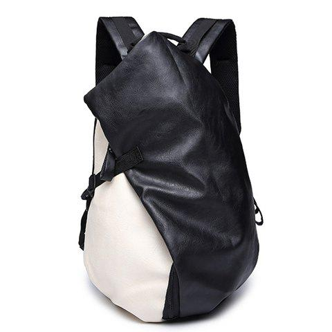 Discount Trendy PU Leather and Colour Block Design Backpack For Men