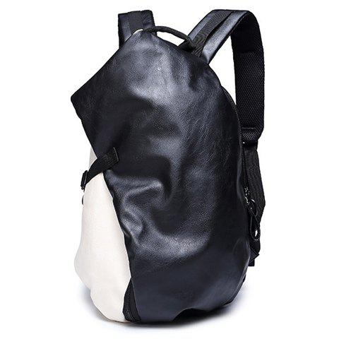 Outfits Trendy PU Leather and Colour Block Design Backpack For Men -   Mobile