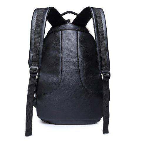 Fashion Trendy PU Leather and Colour Block Design Backpack For Men -   Mobile