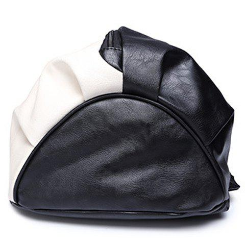 Shops Trendy PU Leather and Colour Block Design Backpack For Men -   Mobile