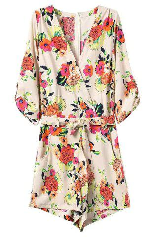 Fashion Zip Back Floral Romper with Sleeves