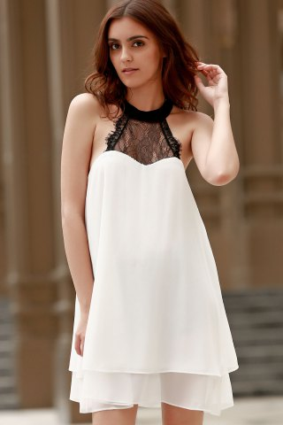 Fancy Fashion Halter Lace Spliced Double-Layered Women's Chiffon Dress - L WHITE Mobile