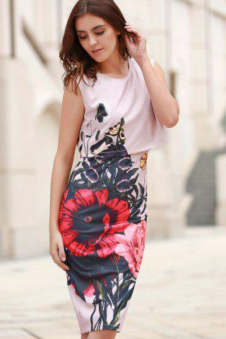 Store Stylish Round Collar Sleeveless Floral Print Dress For Women - S PINK Mobile