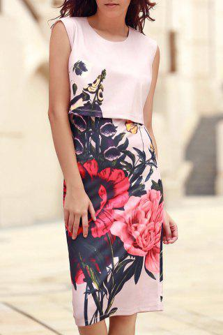Fancy Stylish Round Collar Sleeveless Floral Print Dress For Women - S PINK Mobile