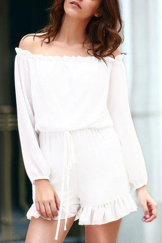 Shops Stylish Off The Shoulder Long Sleeve Solid Color Romper For Women WHITE L