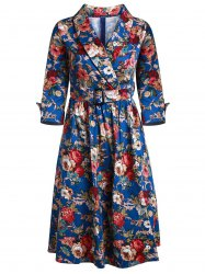 Vintage Style Shawl Collar 3/4 Sleeve Flower Pattern Women's Dress