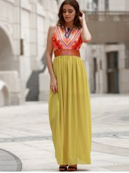 Maxi Print Chiffon Boho Beach Dress - YELLOW