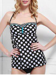 Chic One-Piece Strapless Polka Dot Swimwear