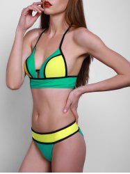 Sexy Spaghetti Strap Hit Color Cut Out Women's Bikini Set - GREEN S