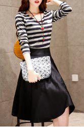 Long Sleeve Striped T-Shirt and Midi A Line Skirt - BLACK