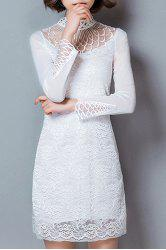 Trendy Turtle Neck Long Sleeve Hollow Out Solid Color Women's Dress -