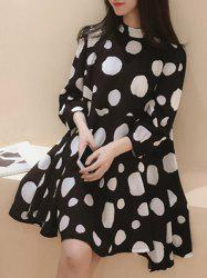 Sweet Style Stand-Up Collar 3/4 Sleeve Polka Dot Chiffon Dress For Women -