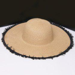 Raw Edge Embellished Broad Brimmed Straw Hat -