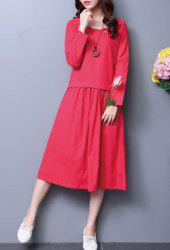 Vintage Long Sleeves Scoop Neck Splice Women's Dress -