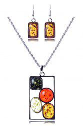 A Suit of Geometric Faux Amber Necklace and Earrings -