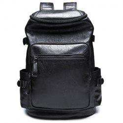 Stylish Zipper and Black Colour Design Backpack For Men - BLACK