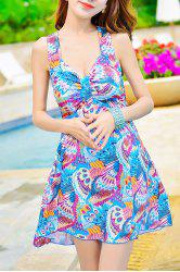 Chic Spaghetti Strap Sleeveless Criss-Cross Printed Women's Swimwear