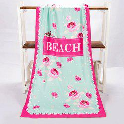 Fashionable Polka Dot Letter and Rose Pattern Rectangle Shape Beach Towel