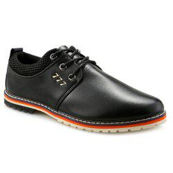 Simple PU Leather and Lace-Up Design Formal Shoes For Men - BLACK