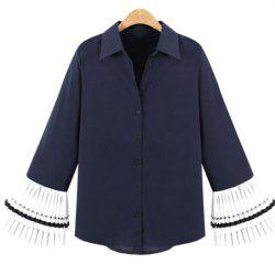 Chic Bell Sleeves Splice Button Embellished Women's Blouse -