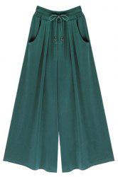 High-Waisted Plus Size Wide Leg Palazzo Pants - BLACKISH GREEN