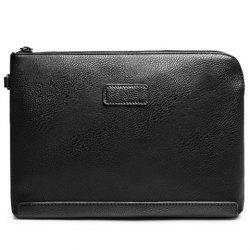 Casual Solid Colour and PU Leather Design Clutch Bag For Men - BLACK