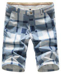 Straight Leg Zipper Fly Plus Size Plaid Shorts - BLUE