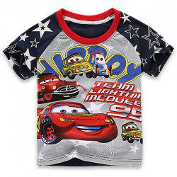 Cute Short Sleeve Cartoon Print Round Neck Boy's T-Shirt