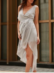 V-Neck Sleeveless Draped Asymmetrical Jersey Dress - GRAY