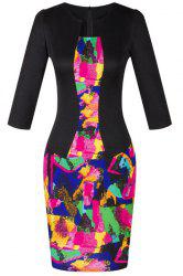 OL Women's Jewel Neck 3/4 Sleeve Colored Printed Faux Twinset Design Dress -