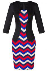 OL Women's Jewel Neck 3/4 Sleeve Wave Printed Faux Twinset Design Dress -