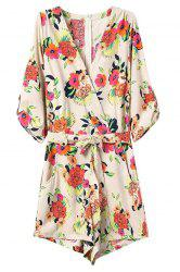 Zip Back Floral Romper with Sleeves -
