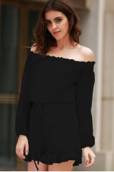 Stylish Off The Shoulder Long Sleeve Solid Color Romper For Women