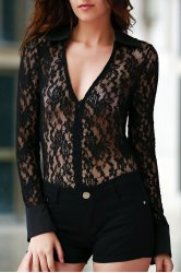 See-Thru Lace Zipped Bodysuit