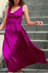 Silky Deep V Neck Backless Women's Maxi Prom Dress