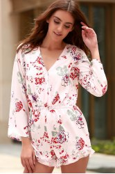 Stylish Cross-Over Collar Long Sleeve Floral Women's Playsuit -