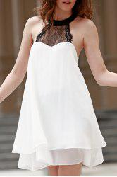 Fashion Halter Lace Spliced Double-Layered Women's Chiffon Dress