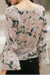 Stylish V Neck Flare Sleeve Flower Print Chiffon Women's Blouse