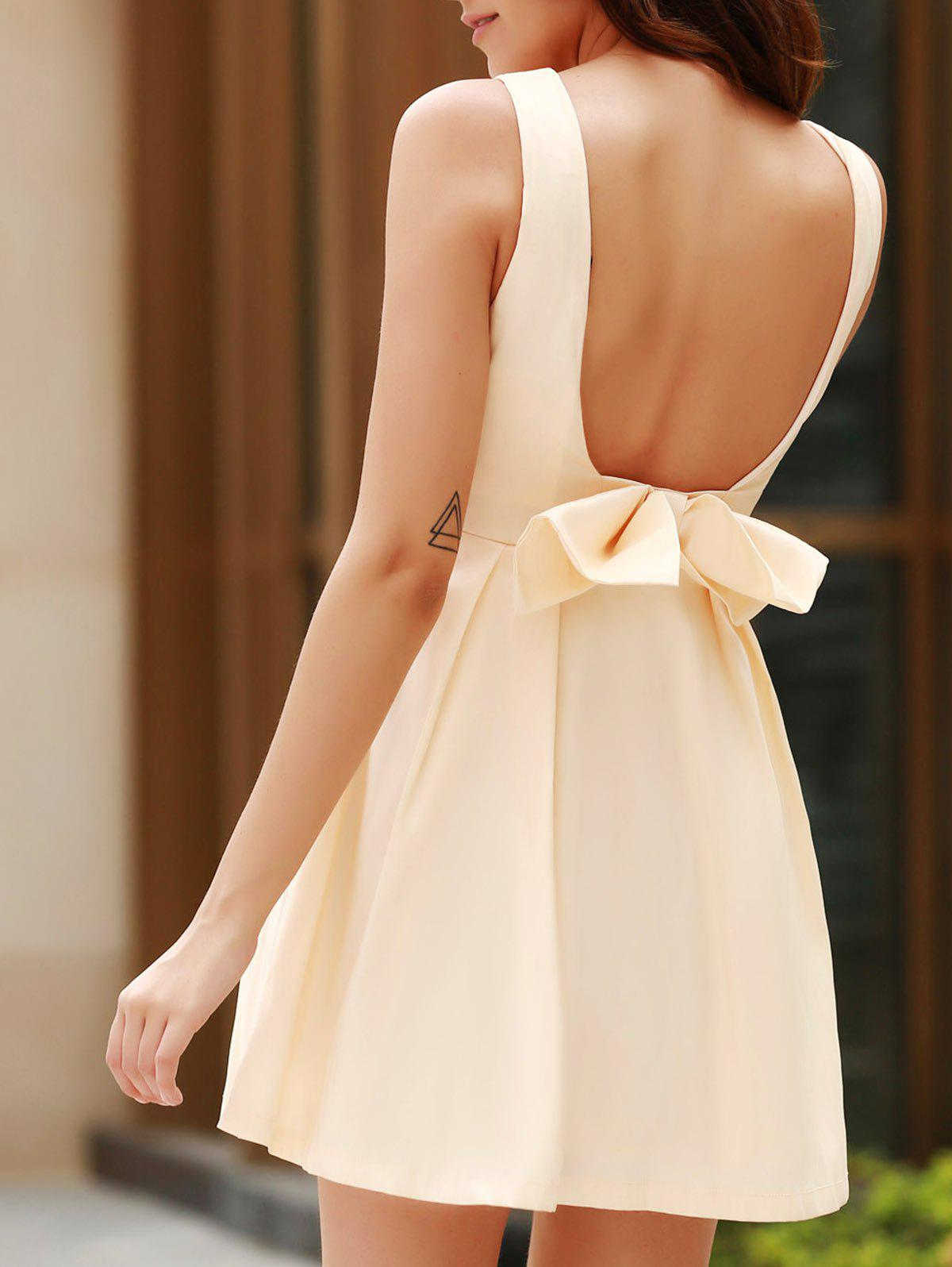 9814ec6403 Fashion Sexy Round Neck Sleeveless Backless Bowknot Design Dress For Women