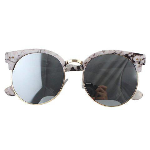 Latest Chic Stone Pattern Match Round Frame Sunglasses For Women