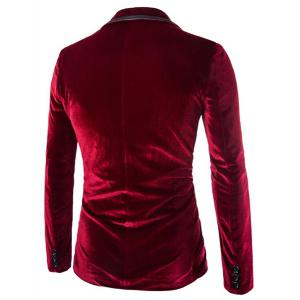 Fashion Lapel Pocket Edging Design Slimming Long Sleeve Corduroy Blazer For Men - WINE RED L