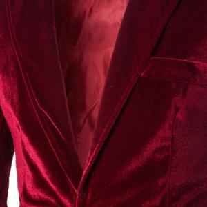 Fashion Lapel Pocket Edging Design Slimming Long Sleeve Corduroy Blazer For Men - WINE RED 2XL