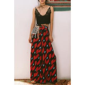 Stylish Printed Side Slit Palazzo Pants For Women - Colormix - S