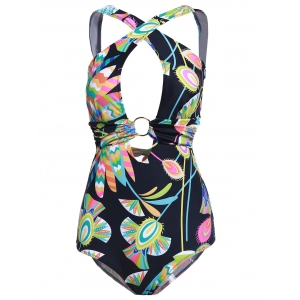 One Piece Floral Criss Cross Backless Swimsuit - Multicolore M