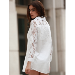 Long Sleeve Lace Long Shirt - WHITE XL