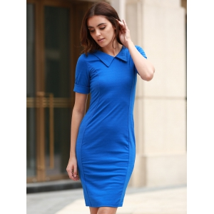 Women's Stylish Solid Color Skinny Short Sleeve Peter Pan Collar Dress -