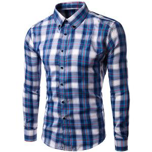 Men's Slim Fit Checked Turn Down Collar Long Sleeves Shirt