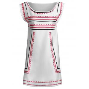 Attractive Color Block Striped Sleeveless Straight Dress For Women - WHITE XL