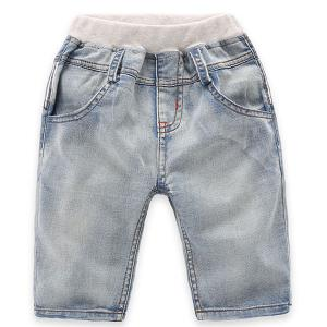 Fashionable Pocket Design Striped Denim Shorts For Boy - Light Blue - 120